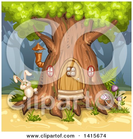Clipart of a Rabbit at a Tree House - Royalty Free Vector Illustration by merlinul