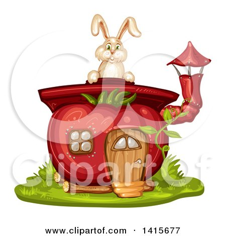 Clipart of a Tomato House and Rabbit - Royalty Free Vector Illustration by merlinul