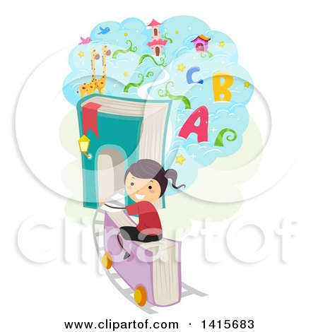 Clipart of a School Girl Riding a Book Train to a Cloud Land of Education - Royalty Free Vector Illustration by BNP Design Studio
