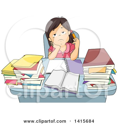 Clipart of a Bored or Tired School Girl Studying at a Desk - Royalty Free Vector Illustration by BNP Design Studio