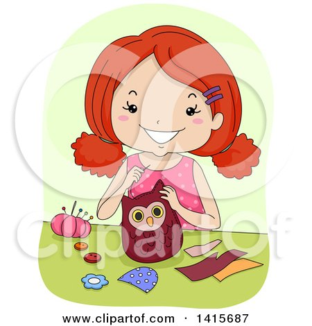 Clipart of a Red Haired White Girl Sewing an Owl - Royalty Free Vector Illustration by BNP Design Studio