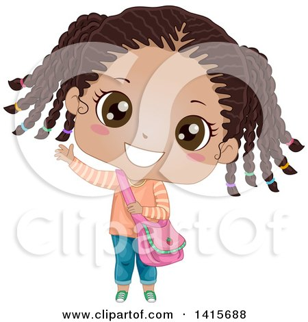 Clipart of a Cute Waving Black Girl with Her Hair in Braids - Royalty Free Vector Illustration by BNP Design Studio