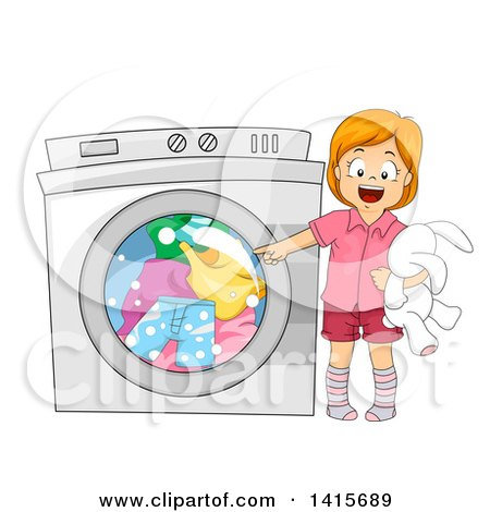 Clipart of a Red Haired White Girl Pointing to a Washing Machine - Royalty Free Vector Illustration by BNP Design Studio