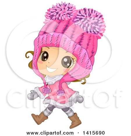 Clipart of a Brunette White Girl Wearing a Big Pink Winter Hat and Walking - Royalty Free Vector Illustration by BNP Design Studio