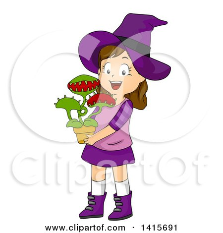 Clipart of a Brunette White Witch Girl Holding a Venus Fly Trap Plant - Royalty Free Vector Illustration by BNP Design Studio