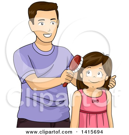 Clipart of a Brunette White Girl Getting Her Hair Brushed by Her Dad - Royalty Free Vector Illustration by BNP Design Studio