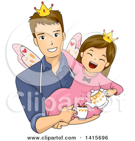 Clipart of a Brunette White Girl Playing Fairy Tea Time with Her Dad - Royalty Free Vector Illustration by BNP Design Studio