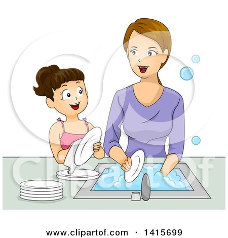 Clipart of a Brunette White Girl Helping Her Mom Wash Dishes - Royalty Free Vector Illustration by BNP Design Studio