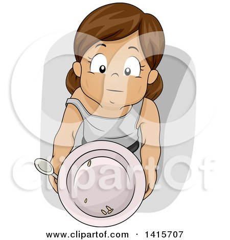 Clipart Of A Malnourished African Boy Holding A Piece Of