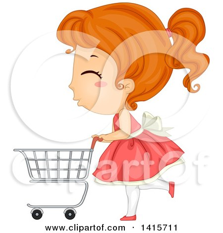 Clipart of a Red Haired White Girl Pushing a Shopping Cart - Royalty Free Vector Illustration by BNP Design Studio