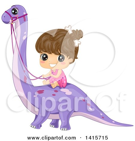 Clipart of a Brunette Cave Girl Riding a Brontosaurs Dinosaur - Royalty Free Vector Illustration by BNP Design Studio