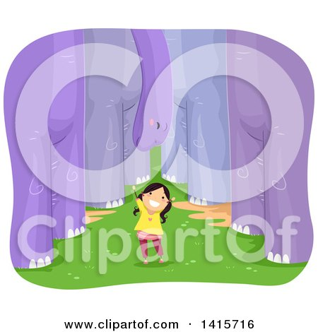 Clipart of a Brunette White Girl Surrounded by Purple Dinosaurs - Royalty Free Vector Illustration by BNP Design Studio