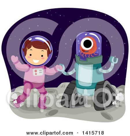 Clipart of a Brunette White Girl in a Space Suit, Dancing with an Alien - Royalty Free Vector Illustration by BNP Design Studio
