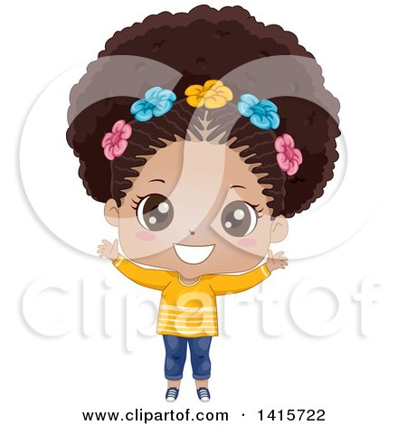 Clipart of a Cute Black Girl with Flowers in Her Hair - Royalty Free Vector Illustration by BNP Design Studio
