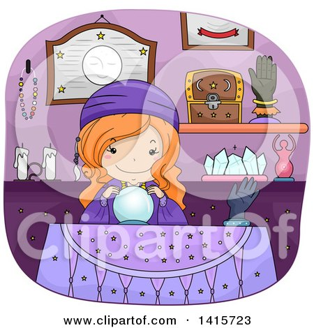Clipart of a Red Haired White Gypsy Girl with a Magic Crystal Ball - Royalty Free Vector Illustration by BNP Design Studio