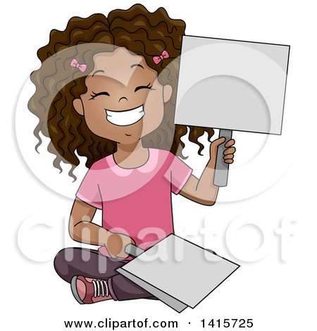Clipart of a Happy Black School Girl Holding Placard Answer Signs - Royalty Free Vector Illustration by BNP Design Studio