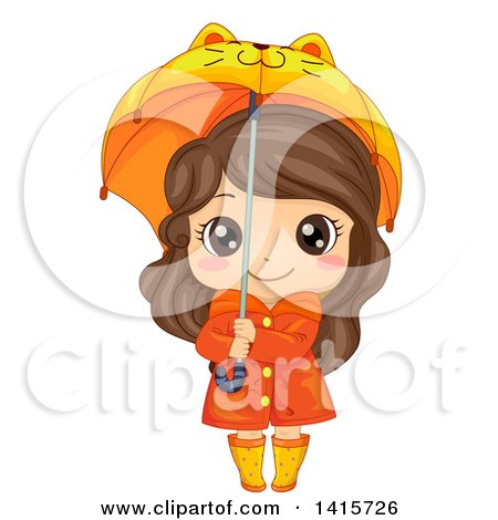 Clipart of a Brunette White Girl in Rain Gear, Holding a Cat Umbrella - Royalty Free Vector Illustration by BNP Design Studio