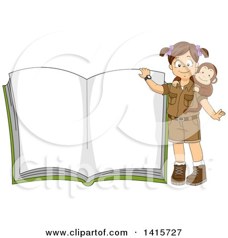 Clipart of a Brunette White Safari Girl with a Monkey, Presenting an Open Book - Royalty Free Vector Illustration by BNP Design Studio