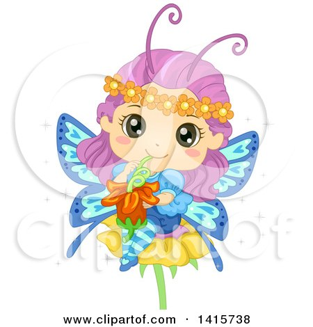 Clipart of a Fairy Butterfly Girl Drinking Flower Nectar - Royalty Free Vector Illustration by BNP Design Studio