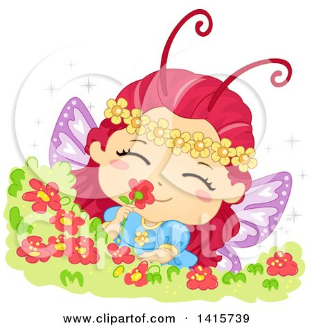 Clipart of a Fairy Butterfly Girl Smelling a Flower - Royalty Free Vector Illustration by BNP Design Studio