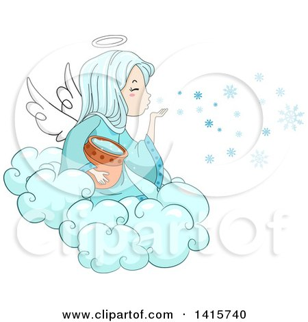 Clipart of a Winter Angel Girl Blowing Snowflakes from a Cloud - Royalty Free Vector Illustration by BNP Design Studio
