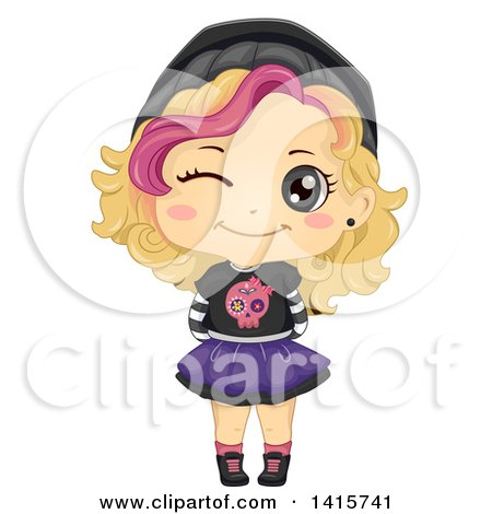 Clipart of a Blond White Girl in Punk Clothes - Royalty Free Vector Illustration by BNP Design Studio