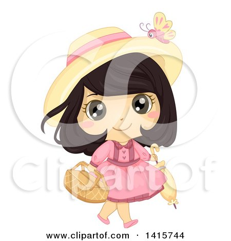 Clipart of a Brunette White Girl Carrying a Picnic Basket and Umbrella - Royalty Free Vector Illustration by BNP Design Studio