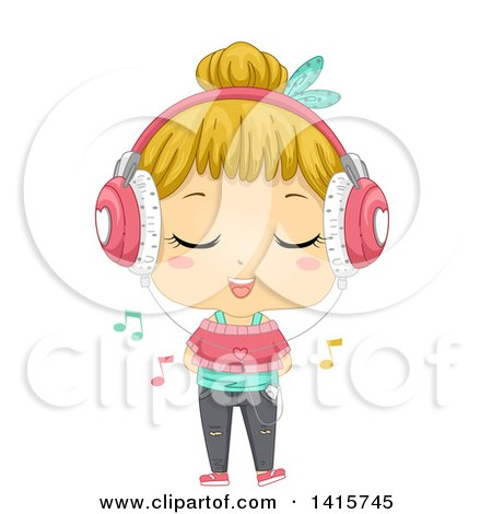 Clipart of a Blond White Girl Wearing Headphones, Singing and Listening to Music on a Media Player - Royalty Free Vector Illustration by BNP Design Studio