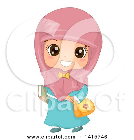 Clipart of a Happy Muslim School Girl - Royalty Free Vector Illustration by BNP Design Studio