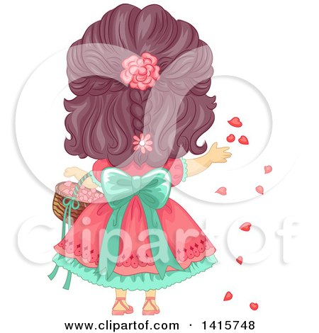 Clipart of a Rear View of a Brunette White Girl Tossing Flower Petals - Royalty Free Vector Illustration by BNP Design Studio