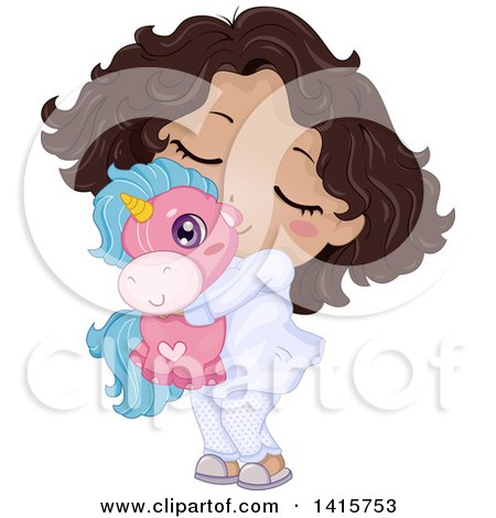 Clipart of a Cute Black Girl in Her Pajamas, Hugging a Unicorn Toy - Royalty Free Vector Illustration by BNP Design Studio