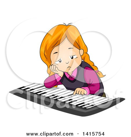 Clipart of a Depressed or Bored Red Haired White Girl Playing a Piano Keyboard - Royalty Free Vector Illustration by BNP Design Studio