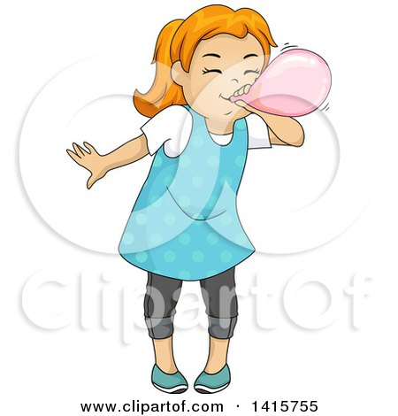 Clipart of a Red Haired White Girl Blowing up a Balloon - Royalty Free Vector Illustration by BNP Design Studio