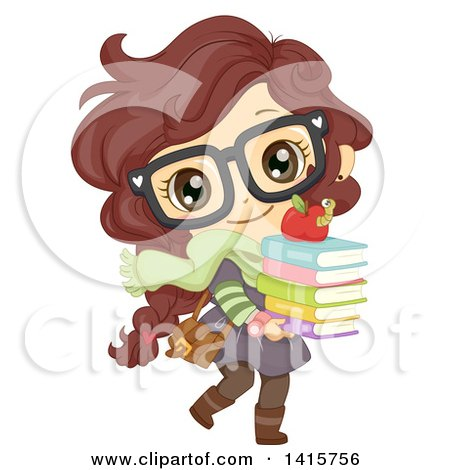Clipart of a Brunette White School Girl Walking with a Stack of Books - Royalty Free Vector Illustration by BNP Design Studio