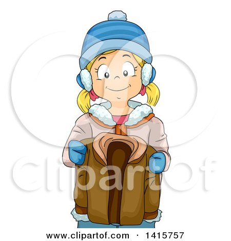 Clipart of a Blond White Girl Holding Her Brothers Winter Coat - Royalty Free Vector Illustration by BNP Design Studio