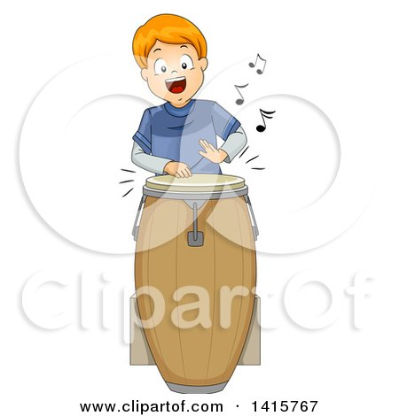 Clipart Of A Red Haired White Boy Playing A Conga Drum Royalty Free Vector Illustration