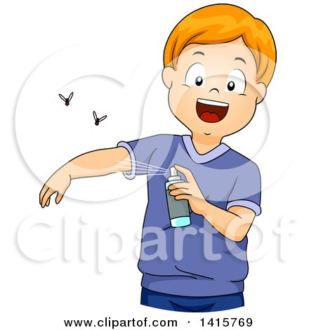 Clipart of a Red Haired Whtie Boy Applying Insect Repellent - Royalty Free Vector Illustration by BNP Design Studio