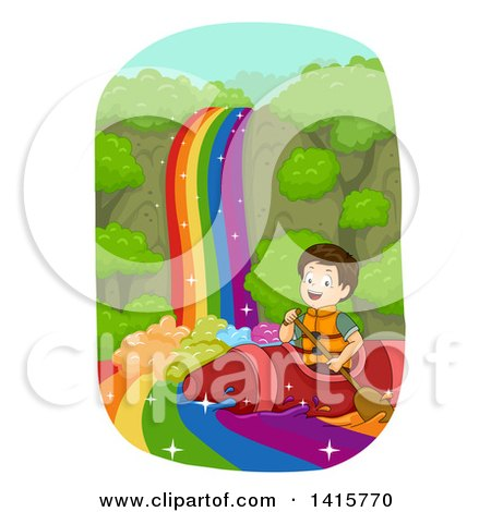Clipart of a Brunette White Boy Rafting down a Rainbow River in a Crayon Kayak - Royalty Free Vector Illustration by BNP Design Studio