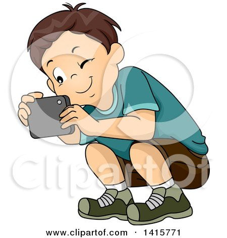 Clipart of a Brunette White Boy Crouching to Take a Picture with His Smart Phone - Royalty Free Vector Illustration by BNP Design Studio