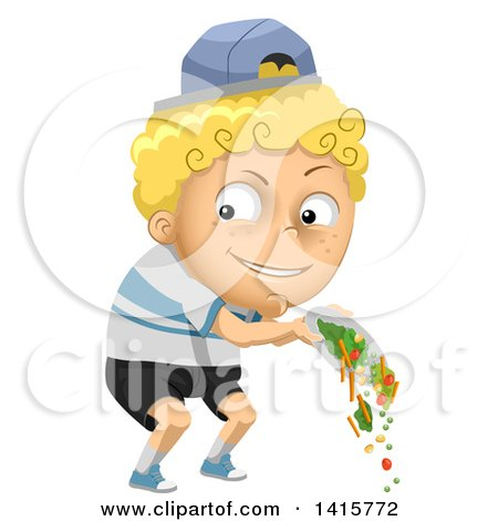 Clipart of a Mischievous Blond White Boy Throwing out His Veggies - Royalty Free Vector Illustration by BNP Design Studio
