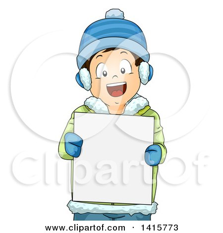 Clipart of a Brunette White Boy in Winter Gear, Holding a Blank Sign - Royalty Free Vector Illustration by BNP Design Studio