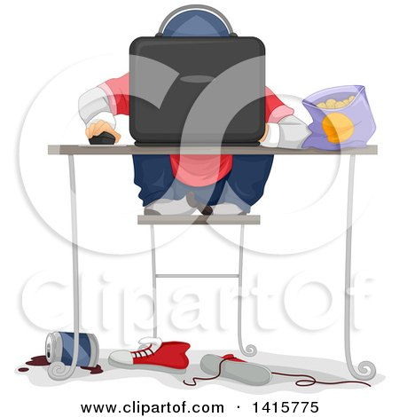 Clipart of a Sloppy Boy Playing a Computer Game - Royalty Free Vector Illustration by BNP Design Studio