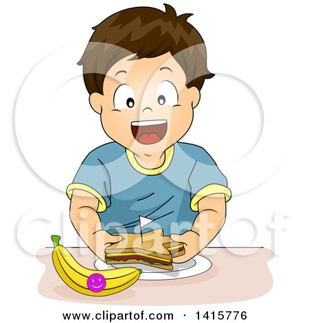 Clipart of a Brunette Caucasian Boy Eating a Star Sandwich and Banana - Royalty Free Vector Illustration by BNP Design Studio