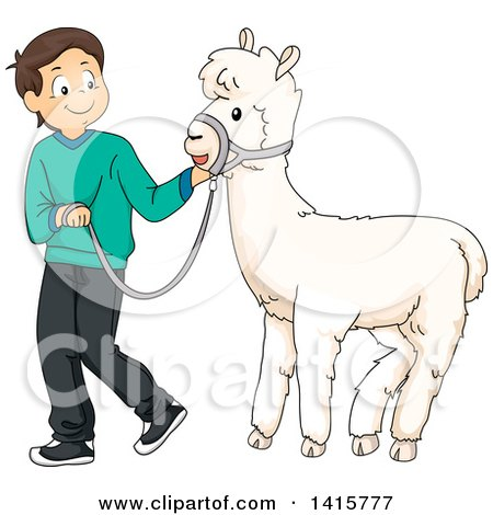 Clipart of a Brunette White Boy Walking a Pet Alpaca - Royalty Free Vector Illustration by BNP Design Studio