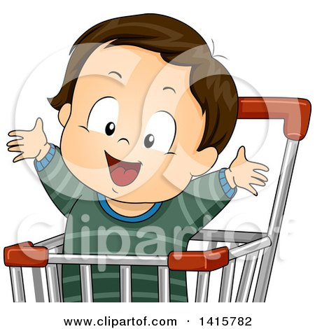 Clipart of a Brunette White Toddler Boy Cheering in a Shopping Cart - Royalty Free Vector Illustration by BNP Design Studio