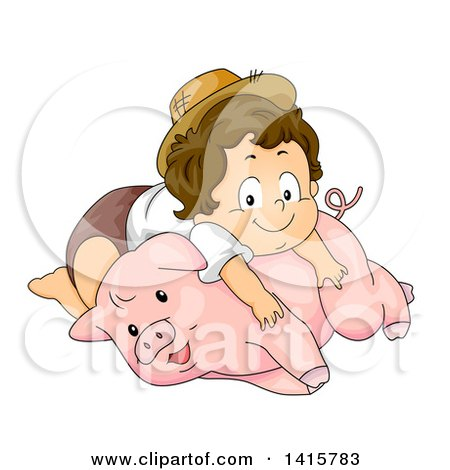 Clipart of a Brunette White Toddler Farmer Boy Resting on a Pig - Royalty Free Vector Illustration by BNP Design Studio