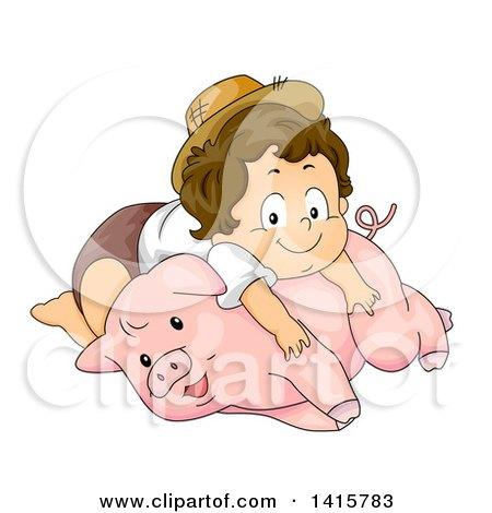 Clipart of a Brunette White Toddler Farmer Boy Resting on a Pig - Royalty Free Vector Illustration by BNP Design Studio