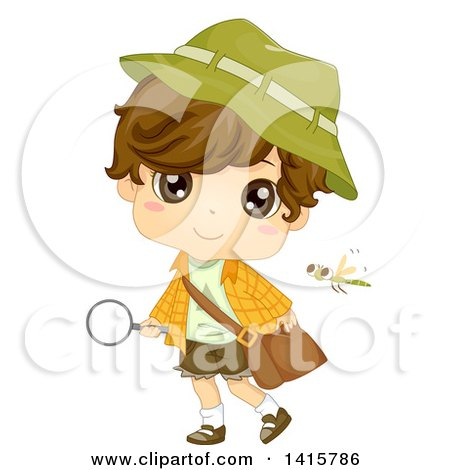 Clipart of a Brunette White Boy Holding a Magnifying Glass and Observing Nature - Royalty Free Vector Illustration by BNP Design Studio