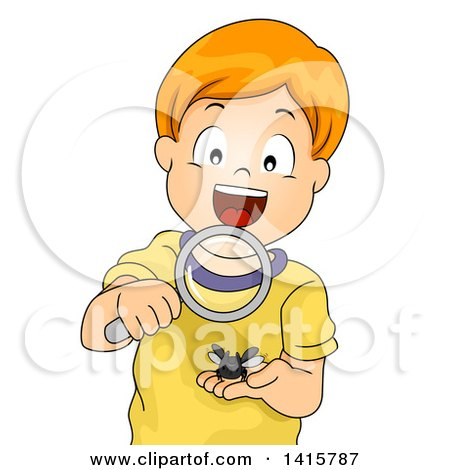 Clipart of a Red Haired Caucasian Boy Looking at a Horned Beetle Through a Magnifying Glass - Royalty Free Vector Illustration by BNP Design Studio