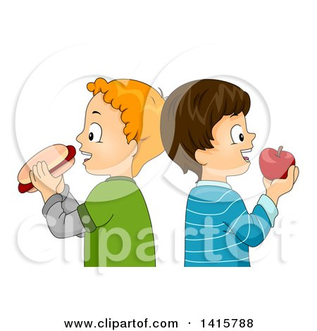 Clipart of Caucasian Boys Standing Back to Back, Eating a Hot Dog and Apple - Royalty Free Vector Illustration by BNP Design Studio